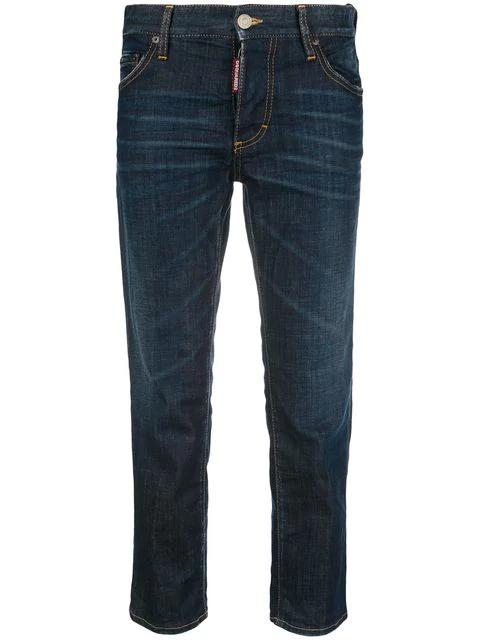 Dsquared2 Cropped Boyfriend Jeans In Blue