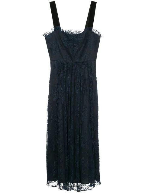 Alexa Chung Embroidered Lace Midi Dress
