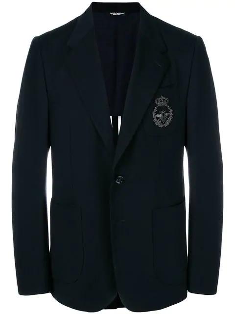 Dolce & Gabbana Textured Bee Embroidered Blazer - Blue
