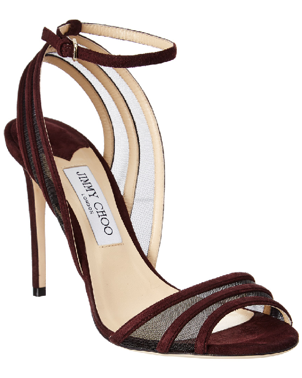 Jimmy Choo Betty 100 Suede & Mesh Sandal In Red