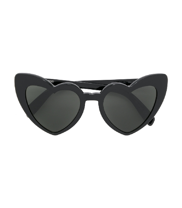 Saint Laurent Heart-shaped Sunglasses In Black