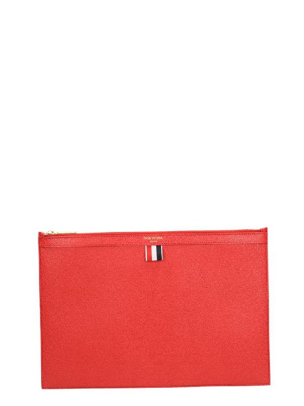 Thom Browne Zipper Folio Pochette In Red