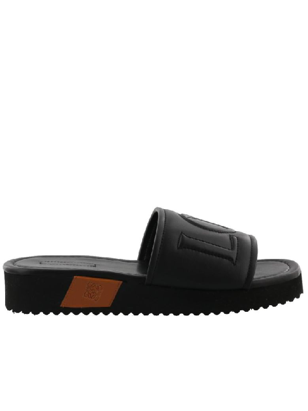 Loewe Slide Sandal In Black-tan