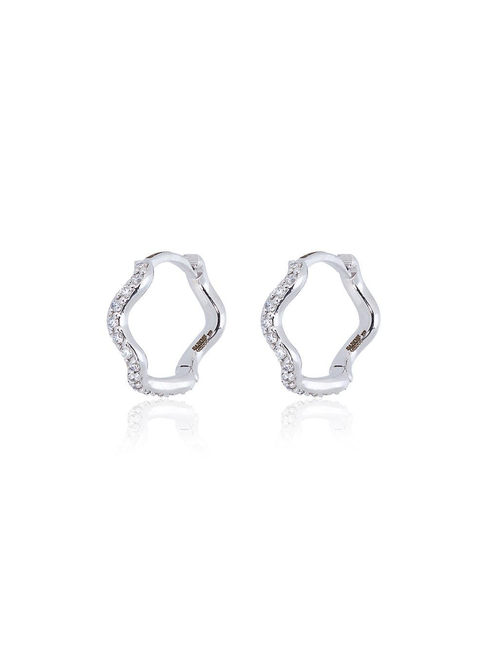 Sabine Getty Diamond And Gold Wave Huggy Hoops In Silver