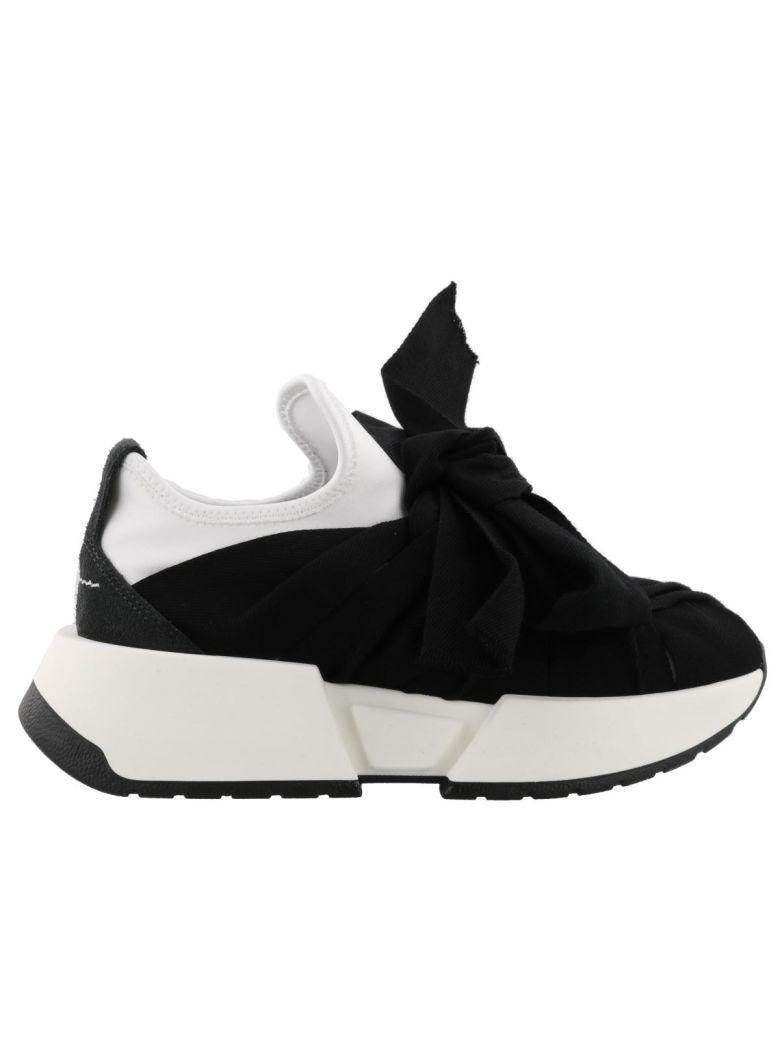 Mm6 Maison Margiela Bow Detail Sneakers In White+dark Grey+black