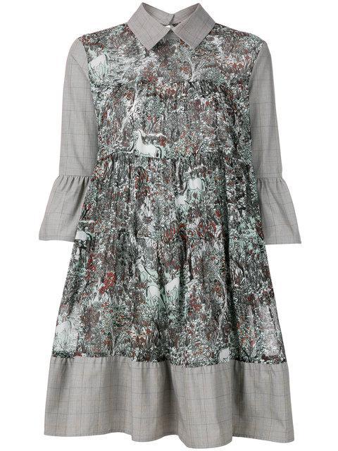 I'm Isola Marras Printed Bell Sleeve Shirt Dress