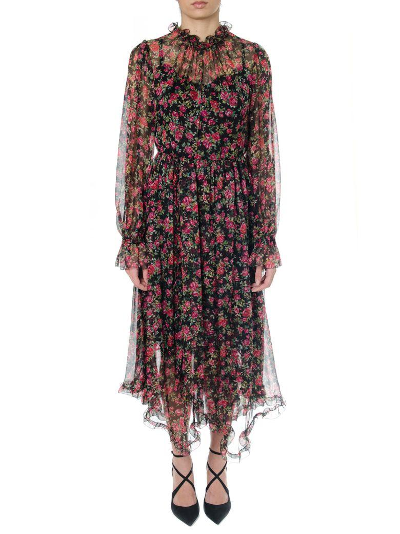 Dolce & Gabbana Black Silk & Multicoloured Folar Print Dress In Black-multicolor