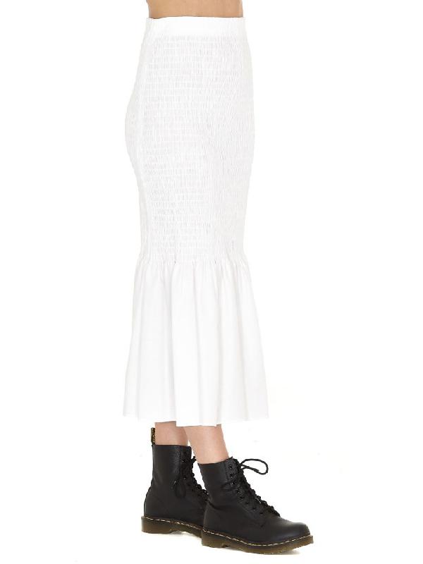 Calvin Klein Fish Tail Long Skirt In Optic White