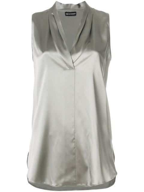 Emporio Armani Pleated Neck Blouse - Green