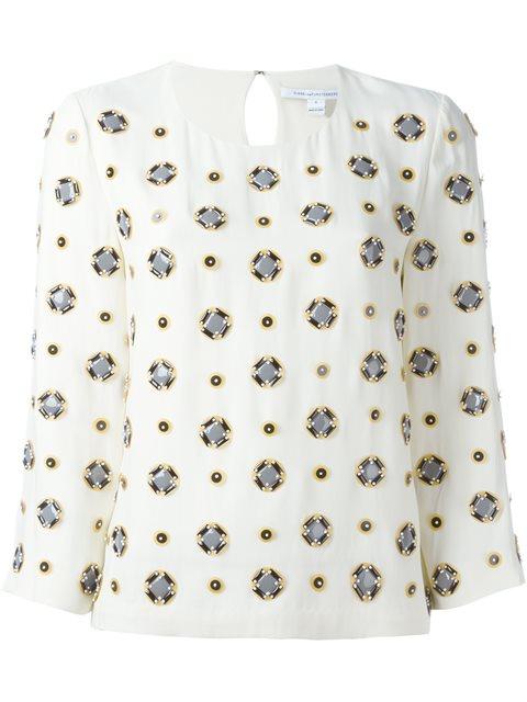 Diane Von Furstenberg Embellished Three-quarters Sleeve Blouse - In Caevas White