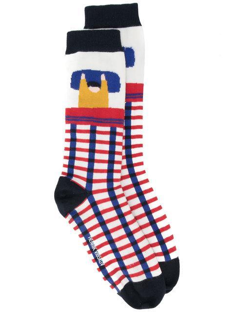 Henrik Vibskov Embroidered Socks In Multicolour