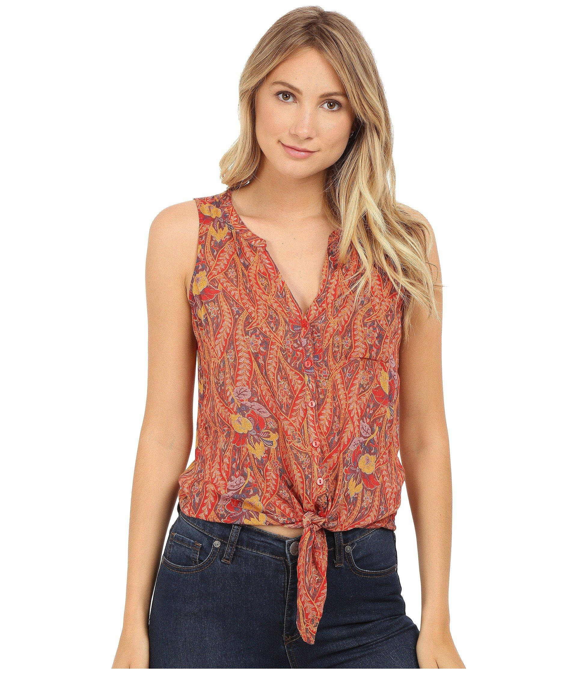 Lucky Brand Tie Front Woven Top In Red Multi