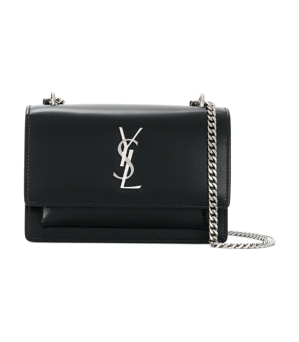 Saint Laurent Mini Sunset Chain Wallet Bag In Black