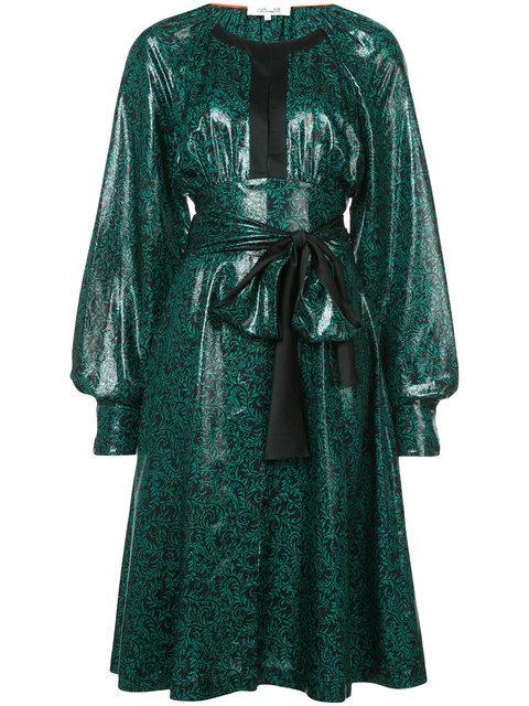 Diane Von Furstenberg Dvf  Belted Patent Dress - Green