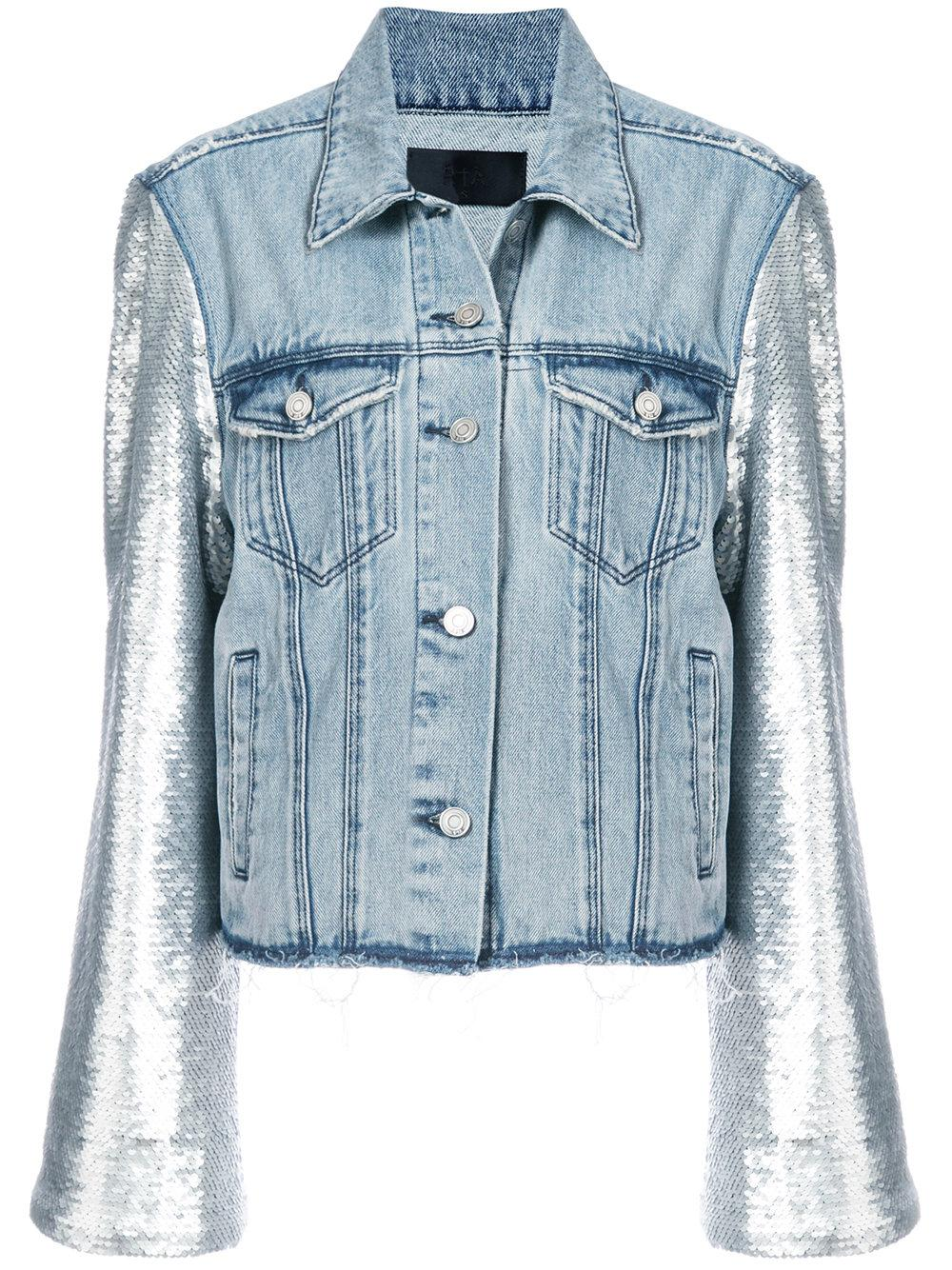 Rta Light Blue Sequined Sleeves Denim Jacket