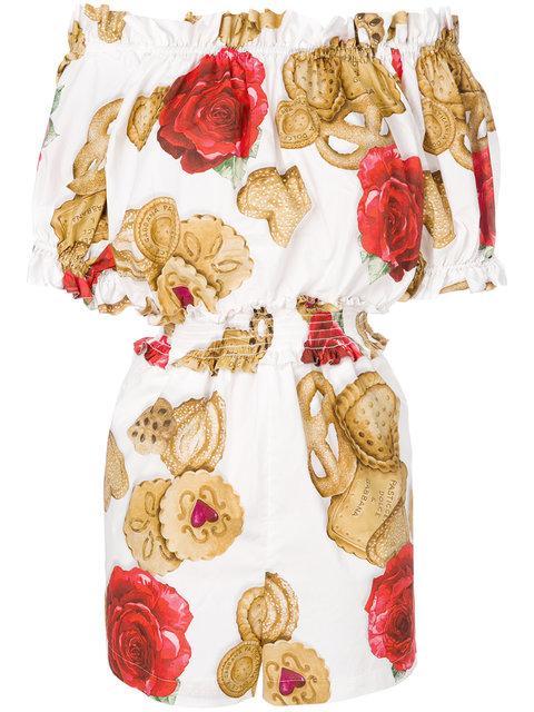 Dolce & Gabbana Rose Biscuit Print Playsuit
