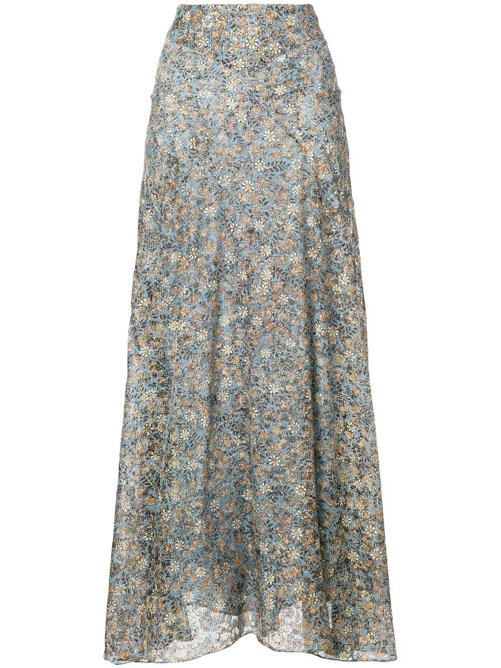 Isabel Marant Ferone Floral Print Skirt In Blue