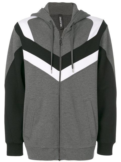 Neil Barrett Stripe Panel Zipped Hoodie - Grey