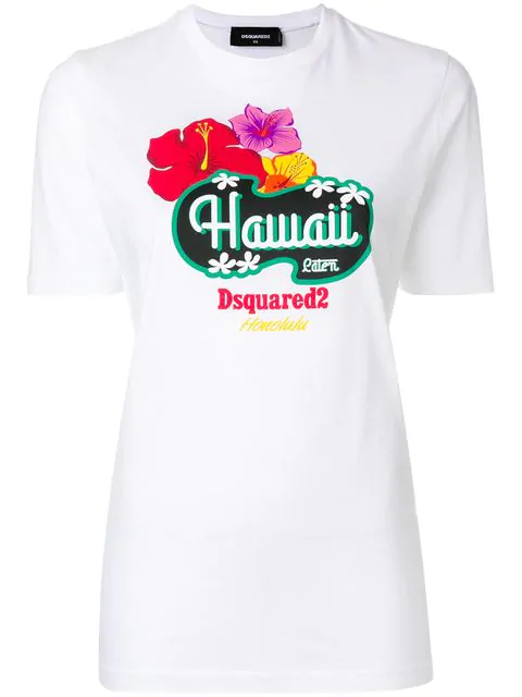 Dsquared2 Hawaii Print T-shirt In White