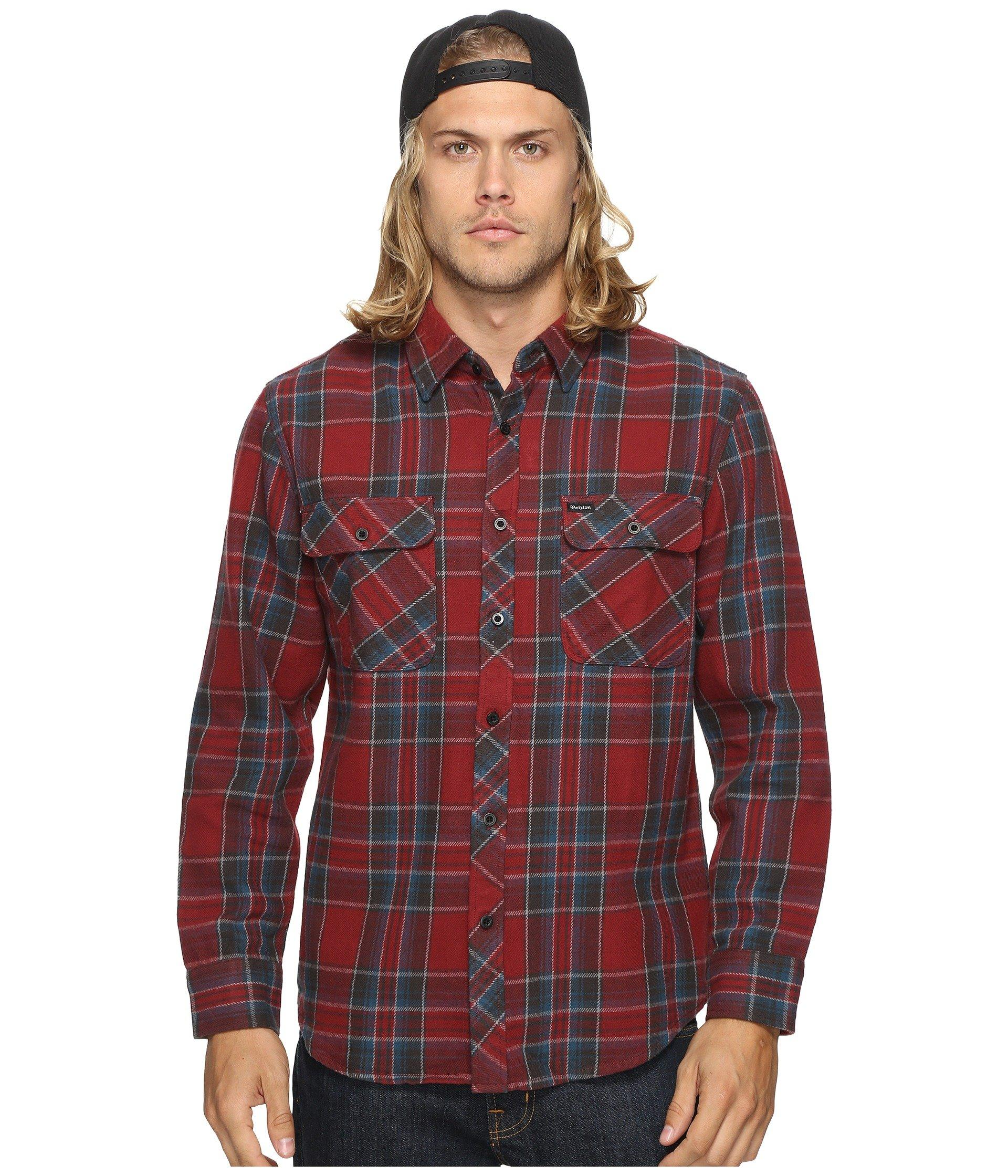 Brixton Bowery Long Sleeve Flannel In Burgundy