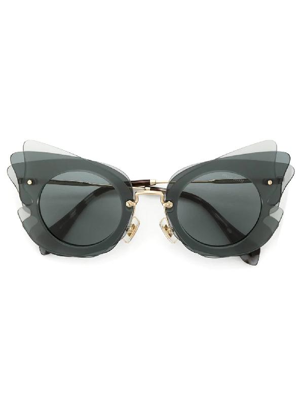 Miu Miu Eyewear Butterfly太阳眼镜 - 灰色