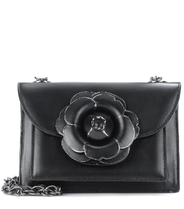 Oscar De La Renta Tro Leather Shoulder Bag In Black