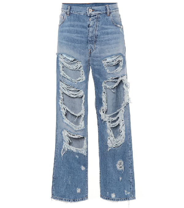 Ben Taverniti Unravel Project Ripped High-waisted Jeans In Blue