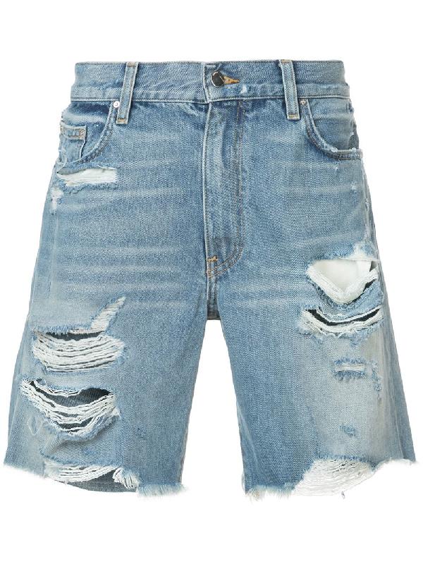 Amiri Thrasher Distressed Denim Shorts - Blue