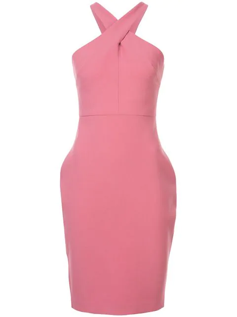 Likely Carolyn Halter-neck Sheath Dress In Pink Flambe