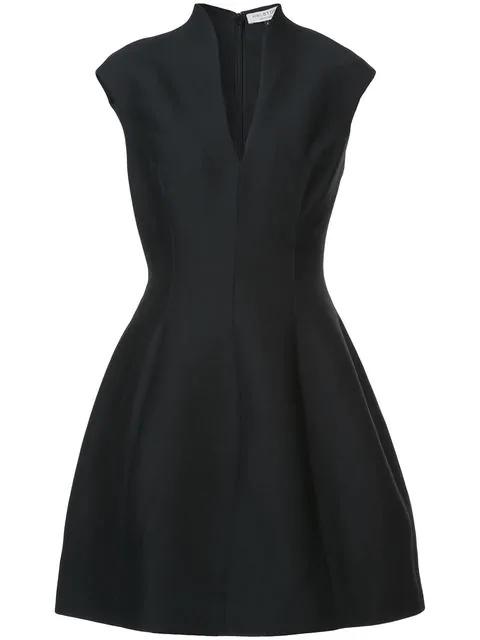 Halston Heritage Sleeveless Plunge Mini Dress In Black