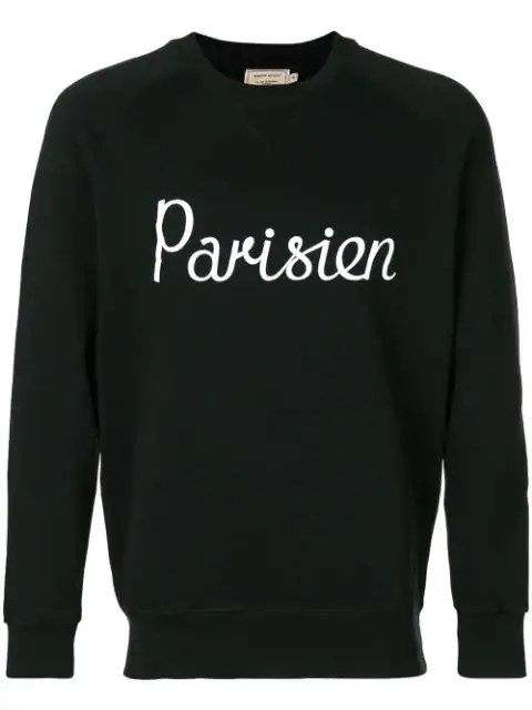 Maison KitsunÉ Printed Loopback Cotton-Jersey Sweatshirt In Black
