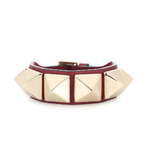 Valentino Rockstud Leather Bracelet In Red