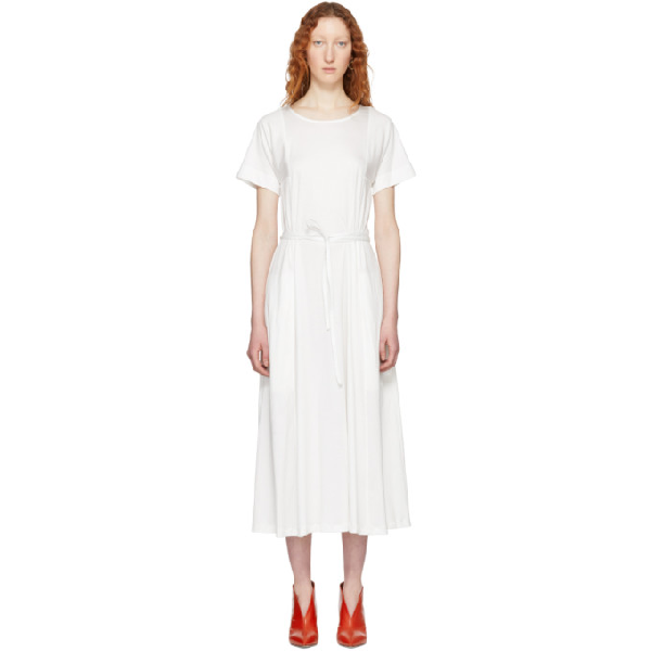 Lemaire Drawstring Midi T-shirt Dress In 001 Chalk