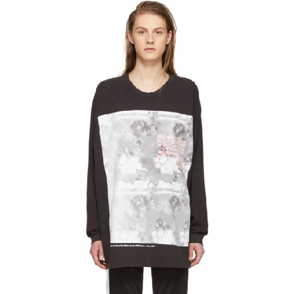 Some Ware Black Long Sleeve Flower Print T-shirt