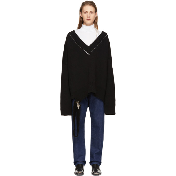 Raf Simons Black Classic Oversized V-neck Sweater