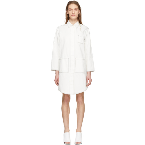 Mm6 Maison Margiela Off-white Oversized Button-up Coat In Off White