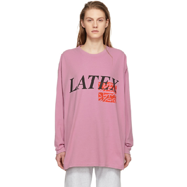 Some Ware Ssense Exclusive Pink Long Sleeve Latex T-shirt In Pink / Blac