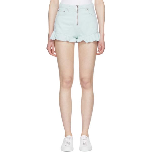 Msgm Blue Zipped Ruffles Denim Shorts