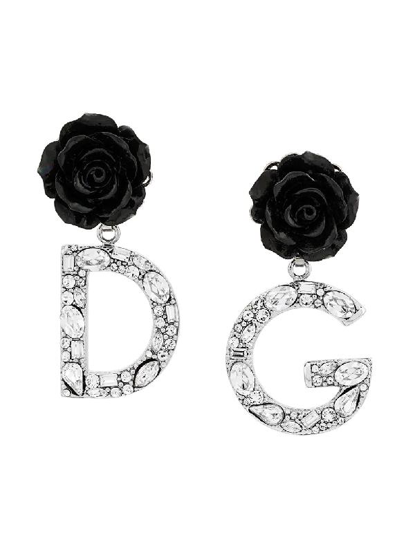 Dolce & Gabbana Rose Logo Drop Earrings
