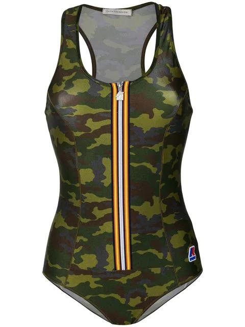 Faith Connexion Camouflage Zip Swimsuit - Green