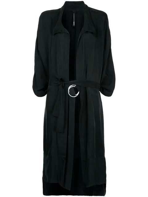 Taylor Tucked Cocoon Trench Coat - Black
