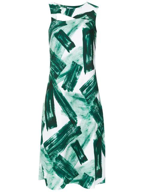 Mara Mac Printed Straight Dress - White