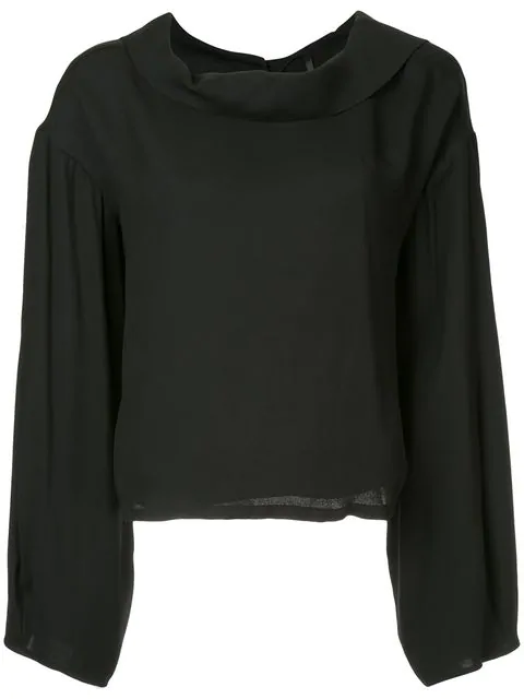 Taylor Reversed Buttoned Blouse - Black