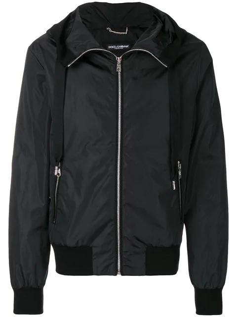 Dolce & Gabbana Logo-print Hooded Jacket In Black