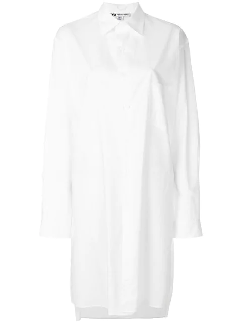 Y-3 Embroidered Back Mid-length Shirt - White
