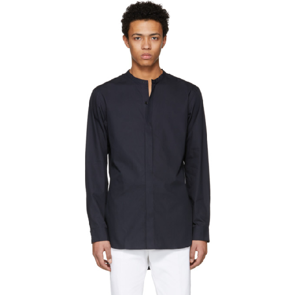 Lemaire Navy Liquette Shirt In 795 Midblue