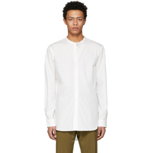 Lemaire White Band Collar Shirt In 001 Chalk