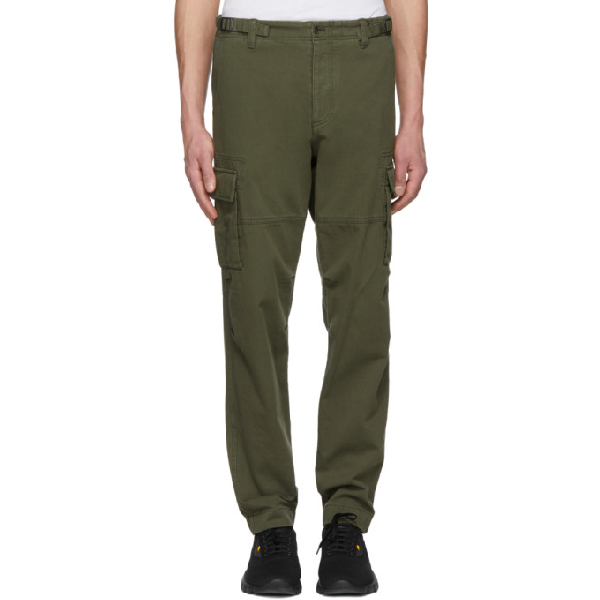 Valentino Green Washed Cargo Pants In L90 Olive