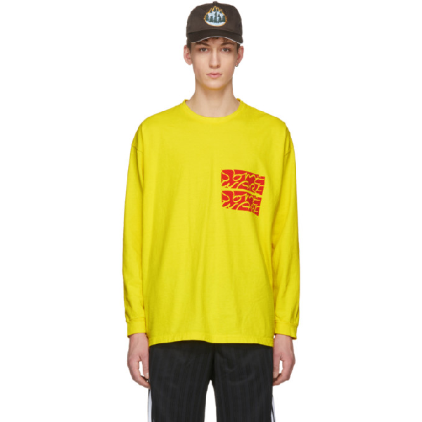 Some Ware Ssense Exclusive Yellow Long Sleeve Logo T-shirt In Lemon