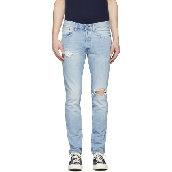 Levi's Levis Blue 501 Skinny Jeans In Washed Blue